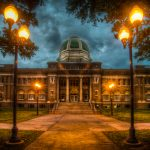 Roswell Courthouse by Lamp Light