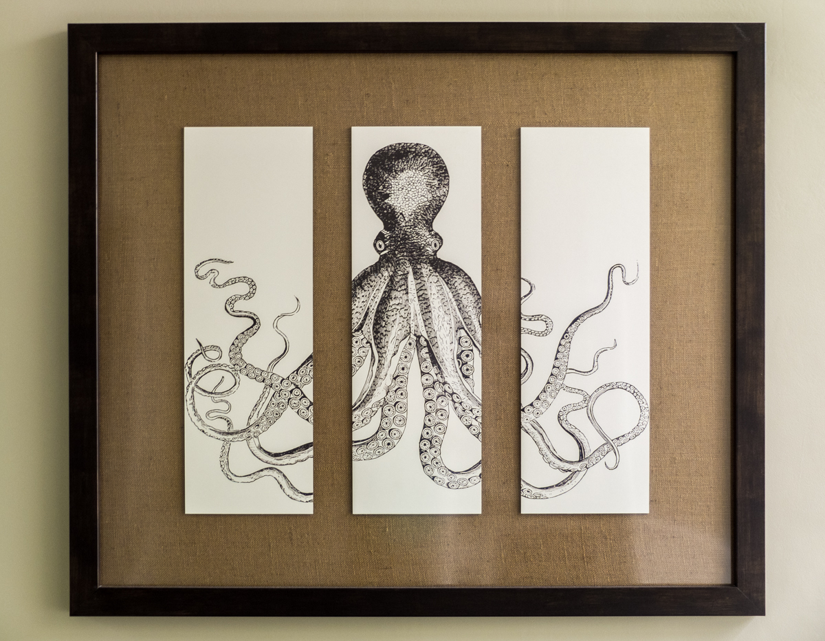 Lord Bodner's octopus triptych hanging in the Catalina Island Inn (second floor)